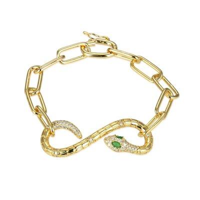 Bracelete Elos Snake Green Eyes Stone