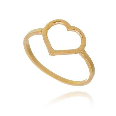 Anel Coração Vazado MiniBanhado a Ouro 18K Samantha Esser