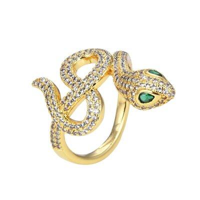 Anel Snake Cravejado Green Eyes Stone