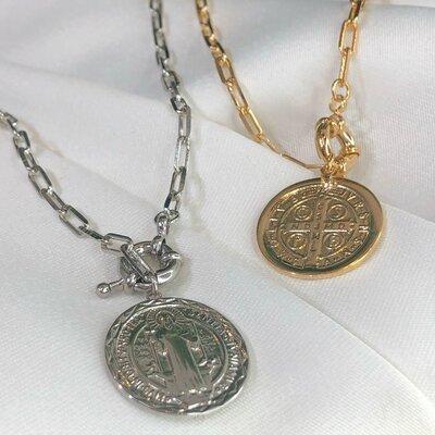Colar Medalha São Bento Banho Ouro 18k ou Ródio
