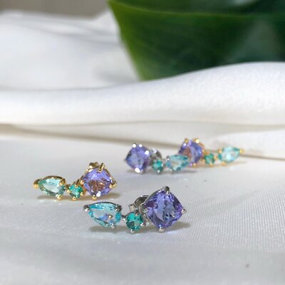 Ear Cuff Em Prata Aurora Candy Com Cristais Coloridos