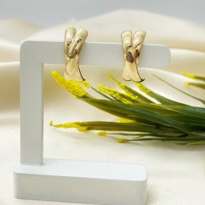 Brinco Ear Hook Liso X Banhado no Ouro 18K