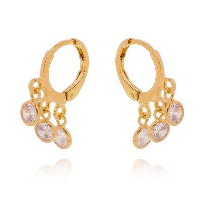 Argola Tiffany de Click com 3 Zircônias Mini Ouro 18k