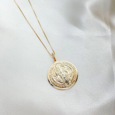 Colar Medalha São Bento Corrente Veneziana