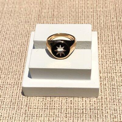 Anel Estrela de Lakshmi Octagrama Banhadosa Ouro18k