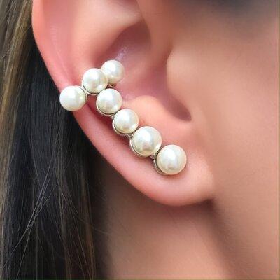 Brinco Ear Cuff Piercing Pérolas no Ouro 18k ou Ródio Branco