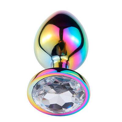Plug Anal Holográfico de Aço com Pedra de Cristal 7,8 cm x 3,1 cm