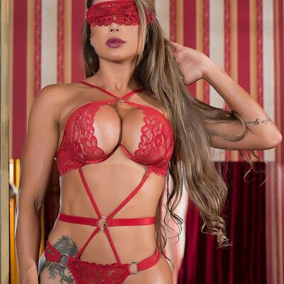 Conjunto- Body Spider Sexy com Sutiã de Aro Inteiro