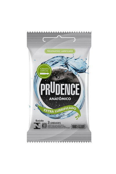 Preservativo Prudence Anatômico Extra Lubrificado com 3 Unidades