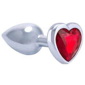 Plug Anal de Luxo em Alumínio com Pedra de Coração Sortido 8 cm x 3,4 cm