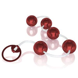 Colar Tailandês Metallic Vermelho com 5 Esferas e Cordão em Silicone