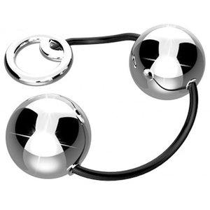 Cordão de 2 Bolas em Metal Cromada para Pompoar Ben-Wa