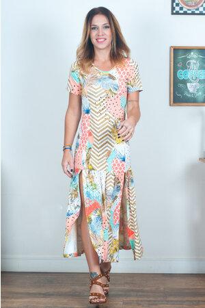 Vestido Longo Fendas Estampado