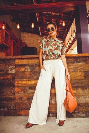 Pantalona + Decote Canoa Estampada