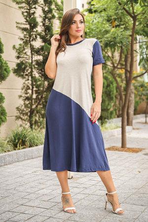 Vestido Manga Curta Bicolor