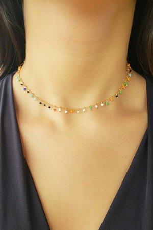 Choker ou colar pedrinhas coloridas ouro semijoia