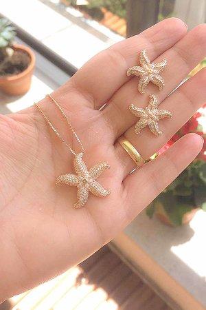Colar estrela do mar ouro semijoias