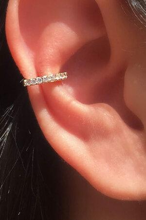 Falso piercing cristal fino ouro semijoias