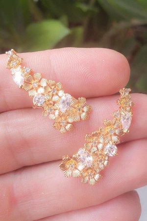 Brinco earcuff Flowers ouro semijoia