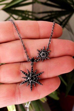 Colar estrelas rodio negro semijoias