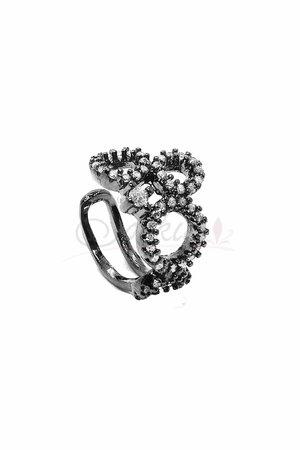 Falso Piercing Circulos Preto com cristal rodio negro
