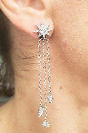 Brinco earjacket estrela com correntes rodio semijoias