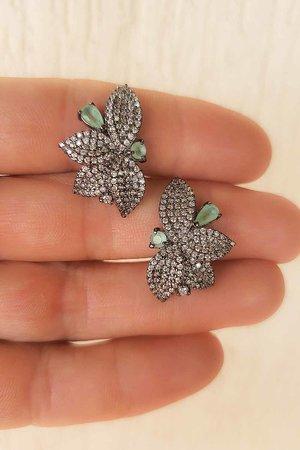 Brinco folha 2 cristais verde banho Rodio negro semijoia