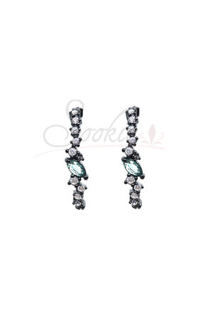 Brinco EarHook cristais com verde semijoias
