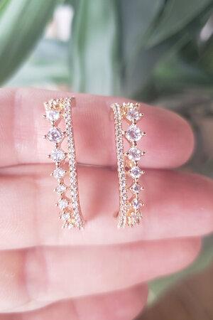 Brinco earhook Versailles cristal ouro semijoia