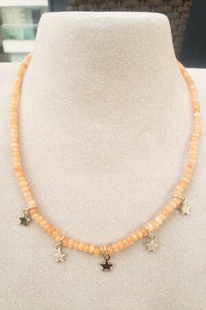 Colar Jade laranja ouro semijoias
