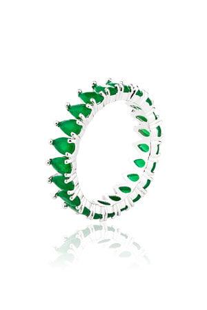 Aliança Navetes com zircônias na cor verde - Semi-Jóia