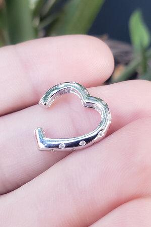 Falso Piercing Heart cravejado Rodio (UNIDADE)
