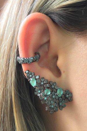 Brinco earcuff Flowers com cristal verde rodio negro semijoia