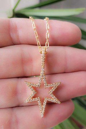 Colar estrela vazada ouro semijoias