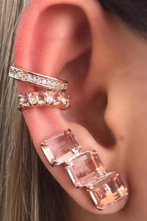 Brinco earcuff 3 pedras morganita Rose semijoia