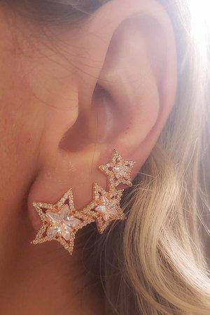 Brinco earcuff 3 estrelas ROSE semijoia