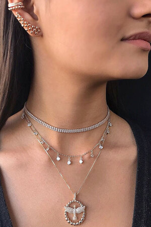 Choker tiffy pendurada rose Semijoias