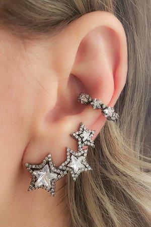 Brinco earcuff 3 estrelas RODIO negro semijoia