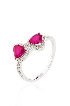 Anel dois corações em prata 925 - Rubi