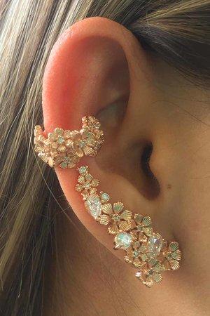 Brinco earcuff Flowers rose semijoia