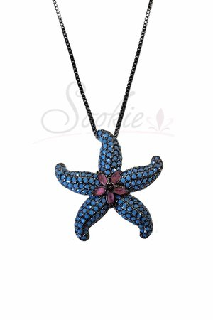 Colar estrela do mar turquesa rodio negro semijoias