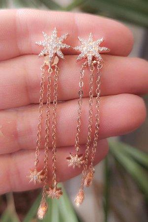 Brinco earjacket estrela com correntes rose semijoias