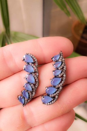 Brinco earcuff Olivia azul rodio negro semijoia