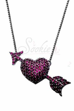 Colar Coração seta Pink rodio negro semijoias