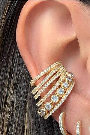 Brinco Piercing de encaixe Versailles ouro semijoia (UNIDADE)