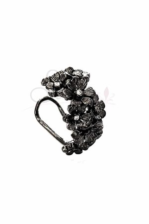Falso Piercing flowers rodio negro
