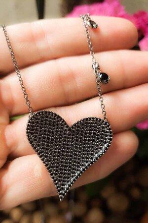 Colar coração grande rodio negro semijoias