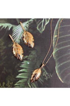 Brinco gold leaf semijoias