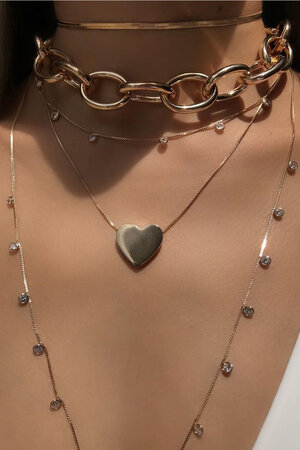 Colar coração ouro Semijoia