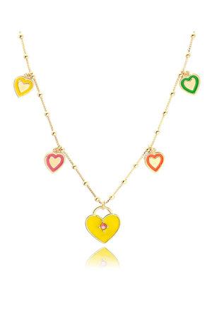 Colar esmaltado coração amarelo ouro Semijoia